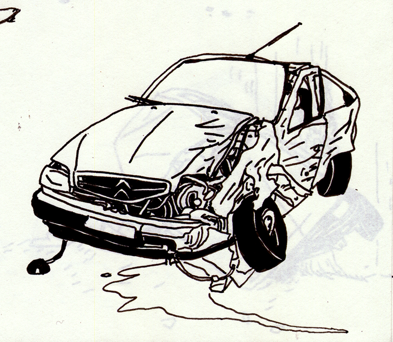 Car crash coloring pages